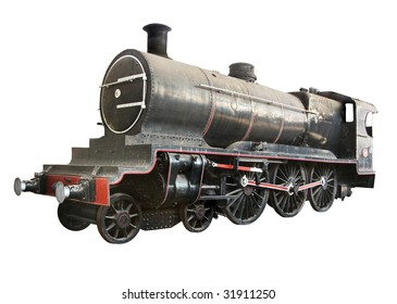 Antique Steam Locomotive isolated over white background