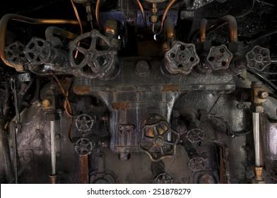 Antique steam locomotive metal cocpit knobs