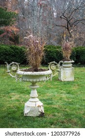Antique steel planters in historic Smithville  Village in Burlington County New Jersey.