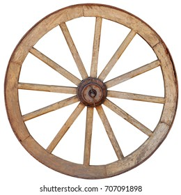 Antique, steel rimmed, wooden wagon wheel with twelve spokes, isolated against a white backround.