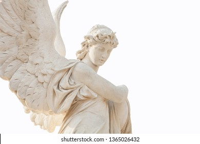 Antique stone statue of angel isolated on white background