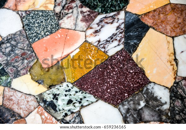 Antique Stone Tiles Old Colorful Mosaic Stock Photo (Edit