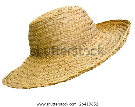 Antique straw hat, isolated over white background