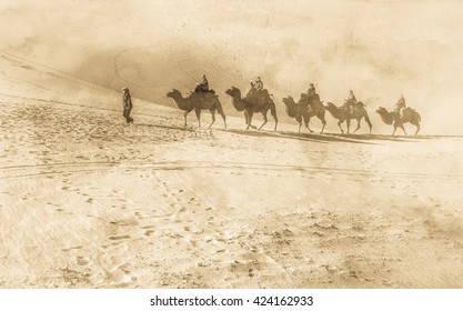 Antique style image of the silk road with camels in the desert
