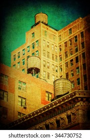 antique style textured picture of typical old buildings with water tanks on the top in Manhattan, NYC