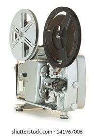 Antique Super 8mm film projector, isolated. Clipping paths are included