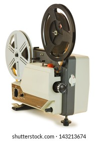 Antique Super 8mm film projector, isolated over white background. Clipping paths are included, shadow separated