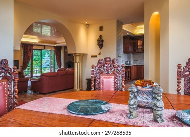 Antique table and chairs in exclusive interior