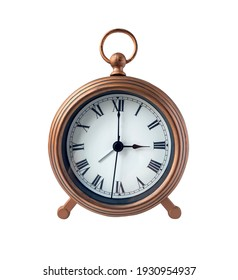 Antique table clock isolated on white background.Clipping path