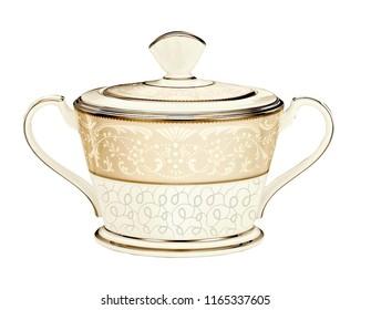 antique teapot on white background, golden teapot, ceramic ivory kettle