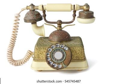 Antique Telephone on White Background