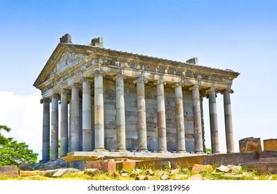 Antique temple in Garni, Armenia.Old Armenian pagan temple in I. n. e. in Armenia