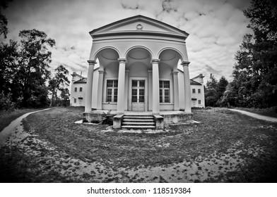 antique temple on monocrome photo