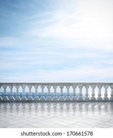 Antique terrace overlooking the sea