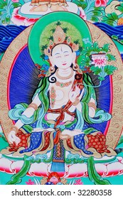 """antique """"Thangka"""": is a painted or embroidered Buddhist banner which was hung in a monastery or a family altar and carried by lamas in ceremonial processions."""