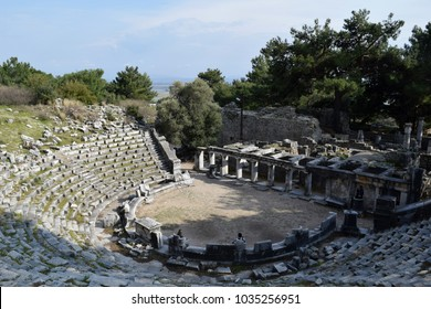 Antique theater of the ancient city Priene. Turkey