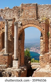 Antique theater in historical city Taormina, Sicily