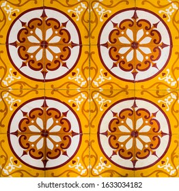 Antique tile with geometric shape ornating the Assembly Hall of the Cantonese Chinese Congregation, Hoi An, Vietnam