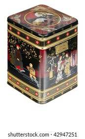 An antique tin Chinese tea canister