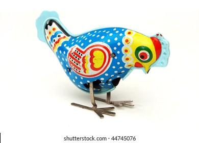 antique  tin toy chicken