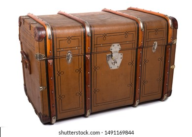 Antique Tin Travel Trunk Steamer Chest Tin Chest Trunk closed isolated on white background