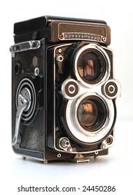 It is a antique TLR (Twin-Lens Reflex) camera, Rolleiflex, F 3.5