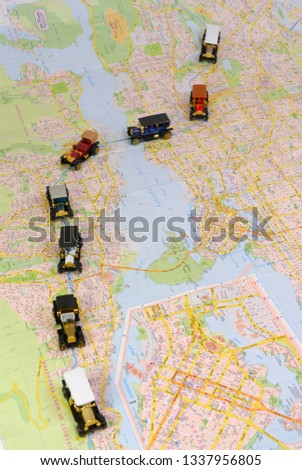 Map Of Canada Vancouver Toronto.Antique Toy Car Convoy On Map Stock Photo Edit Now 1337956805