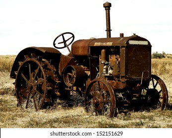 Antique tractor, sitting in a field somewhere in east central Wyoming.