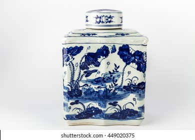 Antique traditional Chinese vase on a white background