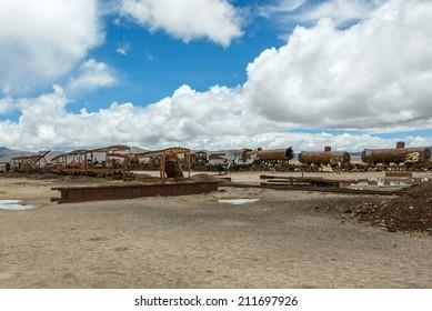 Antique train cemetery - Uyuni, Bolivia