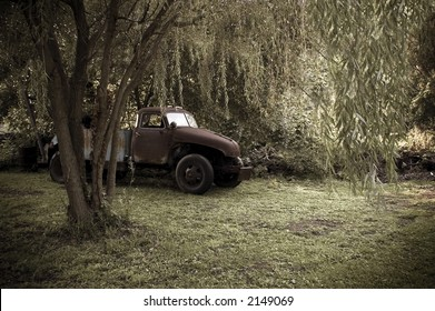 Antique truck & weeping willow