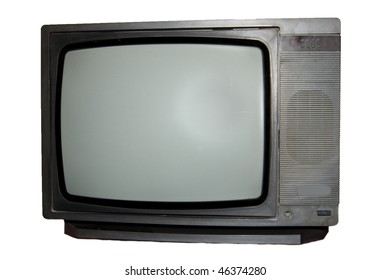 Antique TV isolated on white