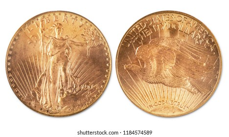 Antique twenty dollar double eagle gold coin. Dated 1914 and showing front and back of coin.