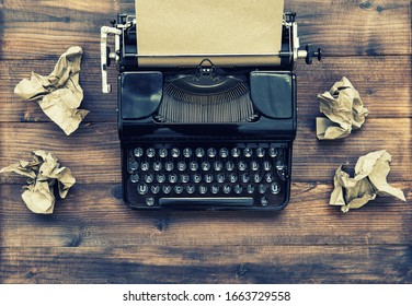 Antique typewriter with aged paper. Creativity inspiration writing. Vintage toned