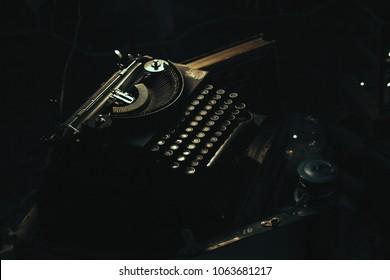 Antique typewriter in low light