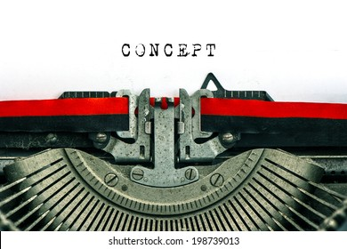 Antique typewriter with sample text CONCEPT. black text on white paper background