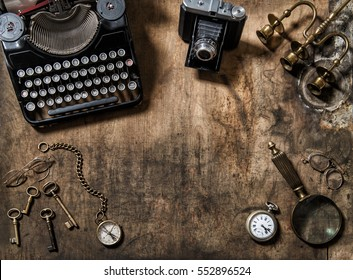 Antique typewriter, vintage items and photo camera. Flat lay still life