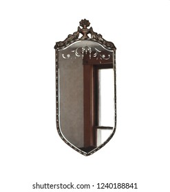 Antique Victorian Vintage MIrror Isolated on White Background with Wood Metal Brown Gold Frame