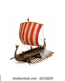 antique viking ship isolated at white background