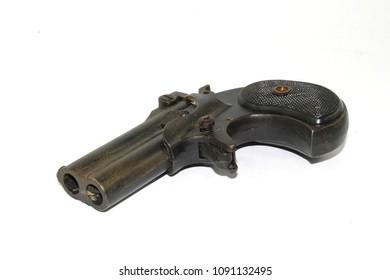 Antique Vintage Gun Pistol Revolver on White Background