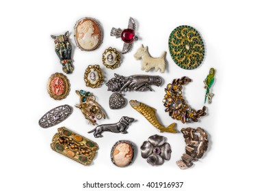 Antique vintage jewelry collection on white background