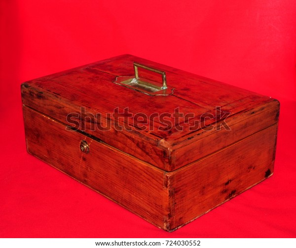Antique Vintage Lidded Wooden Box Brass Stock Photo Edit Now 724030552