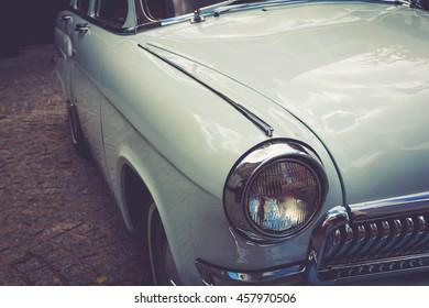 Antique vintage retro automobile bumper car front light