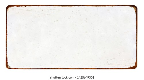 Antique vintage rusty enameled grunge metal sign or panel mockup or muck up template isolated on white background