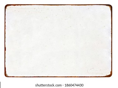 Antique vintage rusty enameled grunge metal sign or panel mockup or mock up template isolated on white background. Including clipping path - Shutterstock ID 1860474430