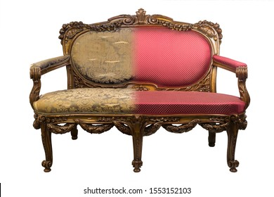 Vintage-Sofa vor und nach der Restaurierung in einem Einzelfoto