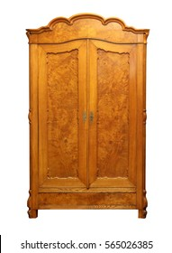 Antique vintage wood wardrobe isolated on white