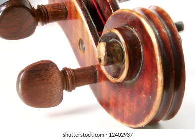 Antique violin on a white backgound