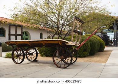 Antique wagon on display outside