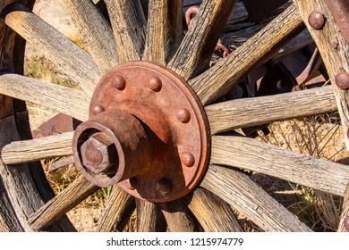 Antique wagon wheel in the Mojave Dessert.